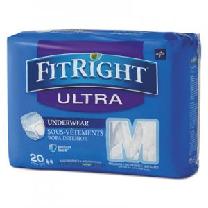 "Medline FitRight Ultra Protective Underwear, Medium, 28-40"" Waist, 20/Pack MIIFIT23005A FIT23005A"