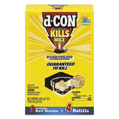 d-CON Refillable Bait Station & Refills, 3 x 3 x 1 1/4, 0.7oz, 4 Refills/Box, 8/Crtn