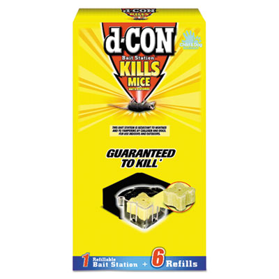 d-CON Refillable Bait Station & Refills, 3 x 3 x 1 1/4, 0.7oz, 6 Refills/Box, 8/Crtn