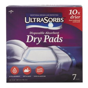 Medline Ultrasorbs Disposable Dry Pads, 23 x 35, Blue, 7/Box MIIDRY2336RET7 DRY2336RET7