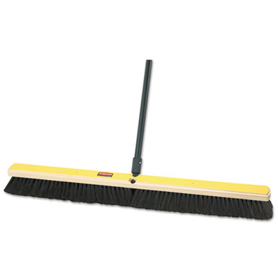 "Rubbermaid Commercial Fine Floor Sweeper, Tampico/Horsehair, 36""Brush, 3""Bristles, Black, 2/Carton RCP9B05BLACT FG9B0500BLA"