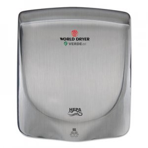 WORLD DRYER VERDEdri Hand Dryer, Stainless Steel, Brushed WRLQ973A Q-973A