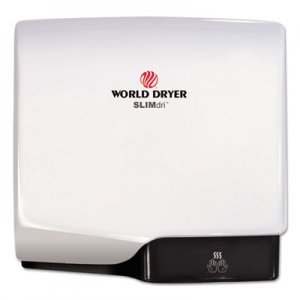 WORLD DRYER SLIMdri Hand Dryer, Aluminum, White WRLL974A L-974A