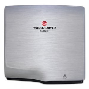 WORLD DRYER SLIMdri Hand Dryer, Stainless Steel, Brushed WRLL973A L-973A