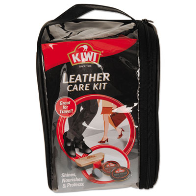 KIWI Leather Care Travel Kit, Black/Brown, 6/Carton DVOCB145003 CB145003