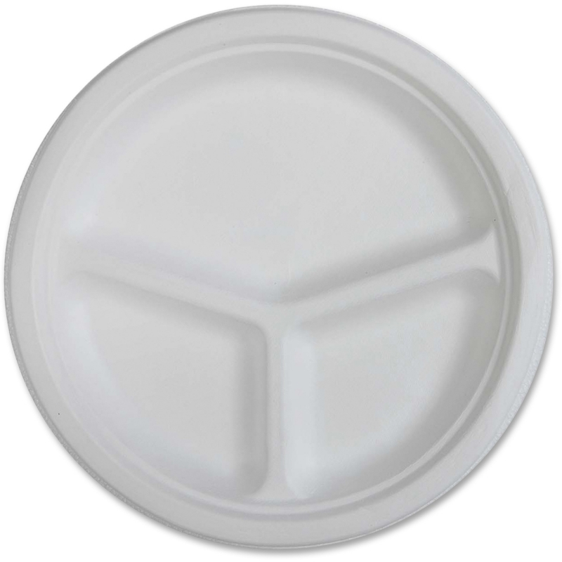 Genuine Joe 3-Compartment Disposable Plates 10219CT GJO10219CT