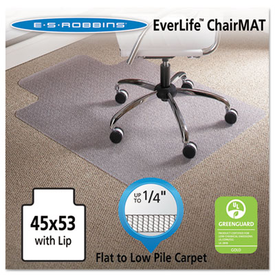 "ES Robbins 45 x 53 Lip Chair Mat, Task Series AnchorBar for Carpet up to 1/4"" ESR120103 120103"