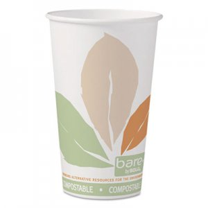 Dart Bare by Solo Eco-Forward PLA Paper Hot Cups, 16 oz, Leaf Design, 50/Pack SCC316PLABBPK 316PLA-J7234
