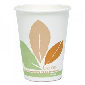 Dart Bare by Solo Eco-Forward PLA Paper Hot Cups, 12 oz, Leaf Design, 50/Pack SCC412PLNJ7234P 412PLN-J7234