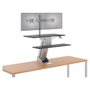 HON Directional Desktop Sit-to-Stand with Dual Monitor Arm, Silver/Black HONS1102 HS1102
