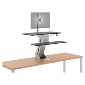 HON Directional Desktop Sit-to-Stand Riser with Single Monitor Arm, Silver/Black HONS1101 HS1101