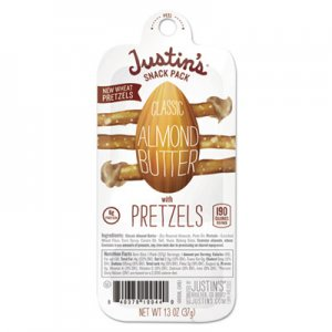 Justin's Nut Butter Snack Packs, Classic Almond Butter w/Pretzels, 1.3 oz Pack, 6/Box JNB10050 10050