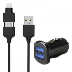 Scosche strikeDRIVE Dual Car Charger, Black SOSI3MC242M I3MC242M