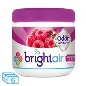 Bright Air Super Odor Eliminator, Wild Raspberry & Pomegranate, 14 oz Jar, 6/Carton BRI900286CT 900286CT