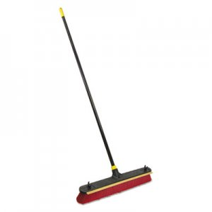 "Quickie 2-in-1 Squeegee Pushbroom, 24"" Brush, 60"" Handle, PET/Steel, Red/Black/Yellow QCK006352 00635-2"