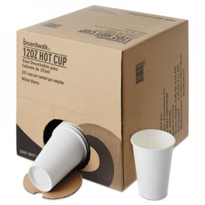 Boardwalk Convenience Pack Paper Hot Cups, 12 oz, White, 225/Carton BWKWHT12HCUPOP
