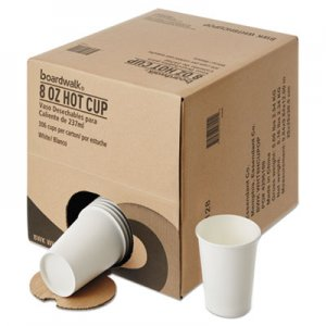 Boardwalk Convenience Pack Paper Hot Cups, 8 oz, White, 306/Carton BWKWHT8HCUPOP