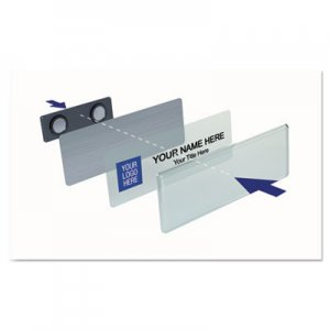 The Mighty Badge Name Badge Starter Kit, Laser Inserts, 1 x 3, White/Silver IPP906814 906814
