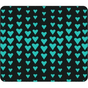OTM Classic Prints Black Mouse Pad, Falling Turquoise Hearts OP-MPV1BM-CLS-10