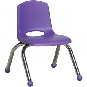 "ECR4KIDS 10"" Stack Chair, Chrome Legs ELR-0192-PU ECR0192PU"