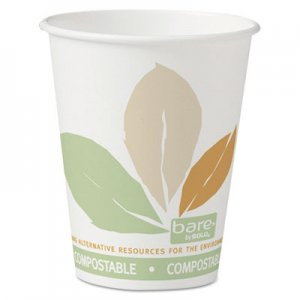 Dart Bare by Solo Eco-Forward PLA Paper Hot Cups, 8 oz, Leaf Design,50/Bag,20 Bags/Ct SCC378PLABB