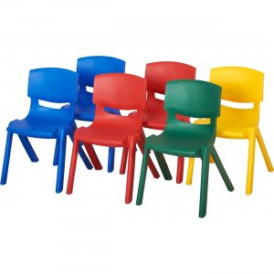 "ECR4KIDS 10"" Assorted Resin Chair Pack, 6 Piece ELR-15134-AS ECR15134AS"