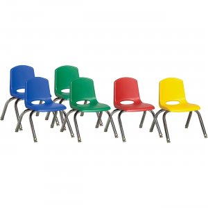 "ECR4KIDS 10"" Stack Chair with Chrome Legs, 6 Piece - ASG ELR-15141-ASG ECR15141ASG"