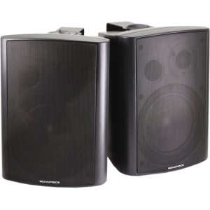 Monoprice 2-Way Active Wall Mount Speakers (Pair) - 25W - Black 7495 MPA-25-BK
