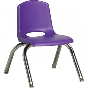 "Early Childhood Resources 10"" Stack Chair, Chrome Legs ELR-0192-PUG ECR0192PUG"