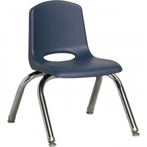 "Early Childhood Resources 10"" Stack Chair, Chrome Legs ELR-0192-NVG ECR0192NVG"
