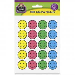 "Teacher Created Resources 1"" Round Happy Face Stickers 6632 TCR6632"