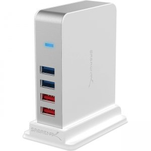 Sabrent 7 Port USB 3.0 HUB + 2 Charging Ports with 12V/4A Power Adapter [White] HB-U93W-PK20