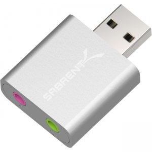 Sabrent USB Aluminum External Stereo Sound Adapter | Silver AU-EMAC-PK100 AU-EMAC