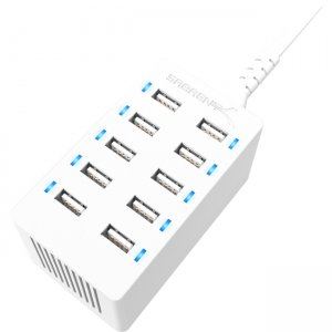 Sabrent 60 Watt (12 Amp) 10 Port Desktop Smart USB Rapid Charger | White AX-TPCS-W-PK40 AX-TPCS-W
