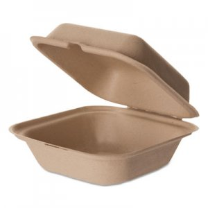 Eco-Products Wheat Straw Hinged Clamshell Containers, 6 x 6 x 3, 400/Carton ECOEPHCW6 EPHCW6