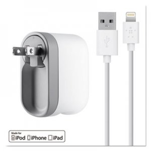 Belkin Swivel Charger, 2.1 Amp Port, Detachable Lightning Cable, White BLKF8J032TT04WH F8J032TT04-WHT