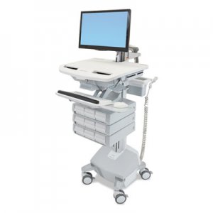 Ergotron Styleview Life Powered Cart w/LCD Arm, 9 Drawer, 22.5 x 31 x 50.5-62, White/Gray