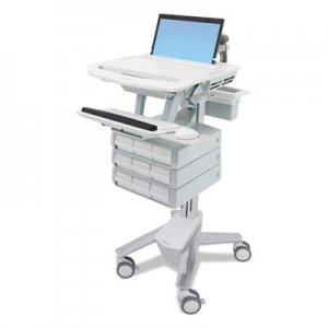 Ergotron StyleView Laptop Cart, 9 Drawers, 22 x 31 x 50 1/2 to 51, White/Gray ERGSV4311900 SV43-1190
