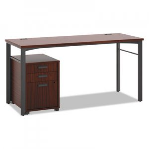 HON Manage Series Table Desk with Pedestal, 60w x 23-1/2d x 29-1/2h, Chestnut BSXMLDP6024C