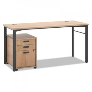 HON Manage Series Table Desk with Pedestal, 60w x 23-1/2d x 29-1/2h, Wheat BSXMLDP6024W
