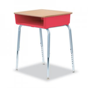 Virco 785 Open-Front Student Desk w/Colored Bookboxes, 24w x 18d, Red, 2/Carton VIR78538507002 785RED70MPL385GRY02