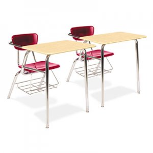 Virco 3400 Series Chair Desk, 22-3/4w x 35-3/4d x 29-1/4h, Fusion Maple/Red, 2