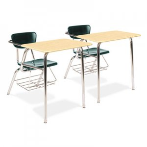 Virco 3400 Series Chair Desk, 22-3/4 x 35-3/4 x 29-1/4, Fusion Maple/Forest Green