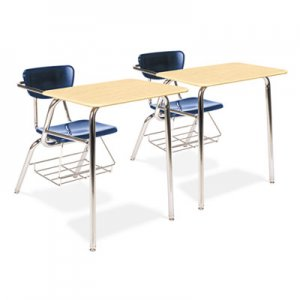 Virco 3400 Series Chair Desk, 22-3/4w x 35-3/4d x 29-1/4h, Fusion Maple/Navy, 2