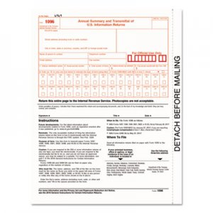 TOPS 1096 Summary Transmittal Tax Forms, 8 x 11, Inkjet/Laser, 50 Forms TOP22023 22023