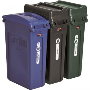 Rubbermaid Slim Jim 3-container Recycling Set 1998897 RCP1998897
