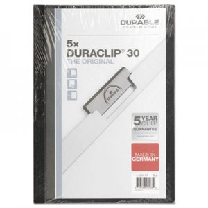 Durable DuraClip Report Cover, 8 9/10 x 11 1/5, Clear, 5 per pack DBL220401 2204-01