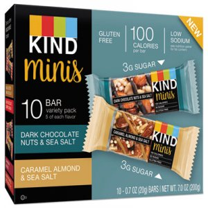 KIND Minis, Almond and Sea Salt, Dark Chocolate Nuts, Sea Salt Caramel, 0.7 oz, 10/PK KND25726 25726