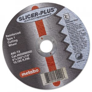 "metabo SLICER-PLUS High-Performance Cutting Wheel, 6"" x .045 x 7/8"", Type 1, A60TX MEB55998 469-55998"