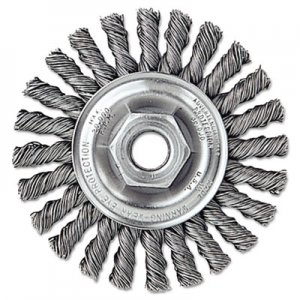 "Weiler Dualife Twist-Knot Wire Wheel, 4"" dia, 7/8"" Trim .02 Wire, 5/8"" Arbor WEI13266 804-13266"